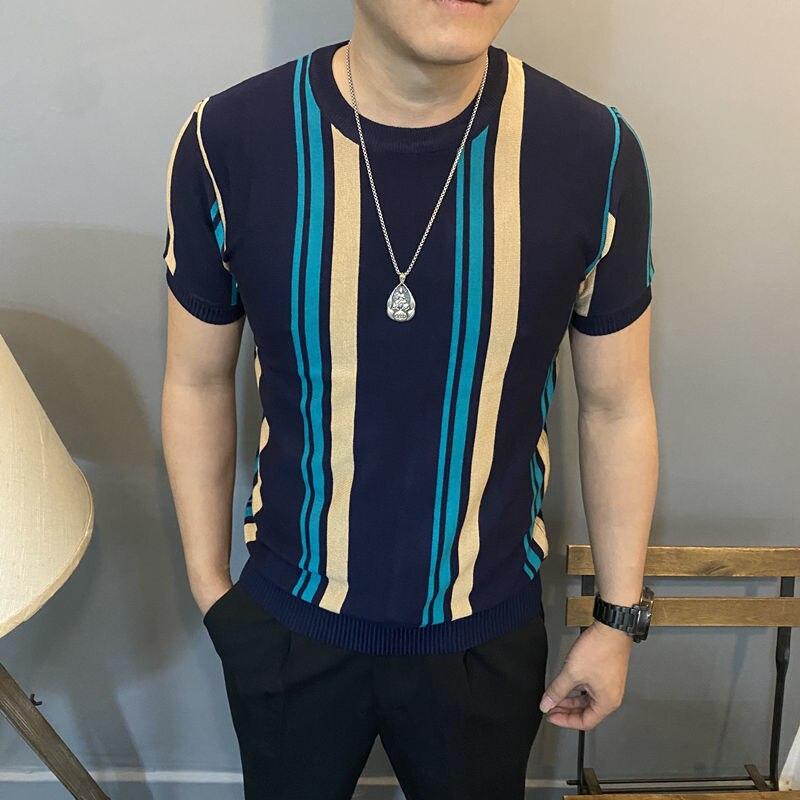 Spring autumn round neck striped sweater men's short-sleeved Korean slim stretch half-sleeved pullover sweater bottoming shirt