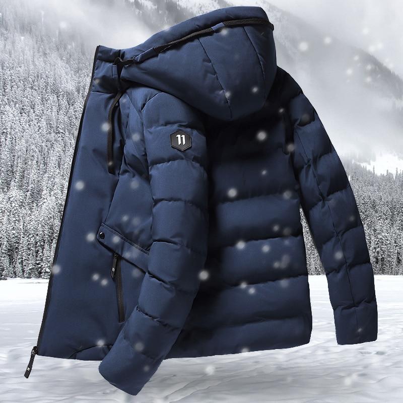 Модная зимняя куртка, Мужская парка с капюшоном, мужское теплое ветрозащитное пальто, мужские плотные теплые куртки на молнии, мужские одно...