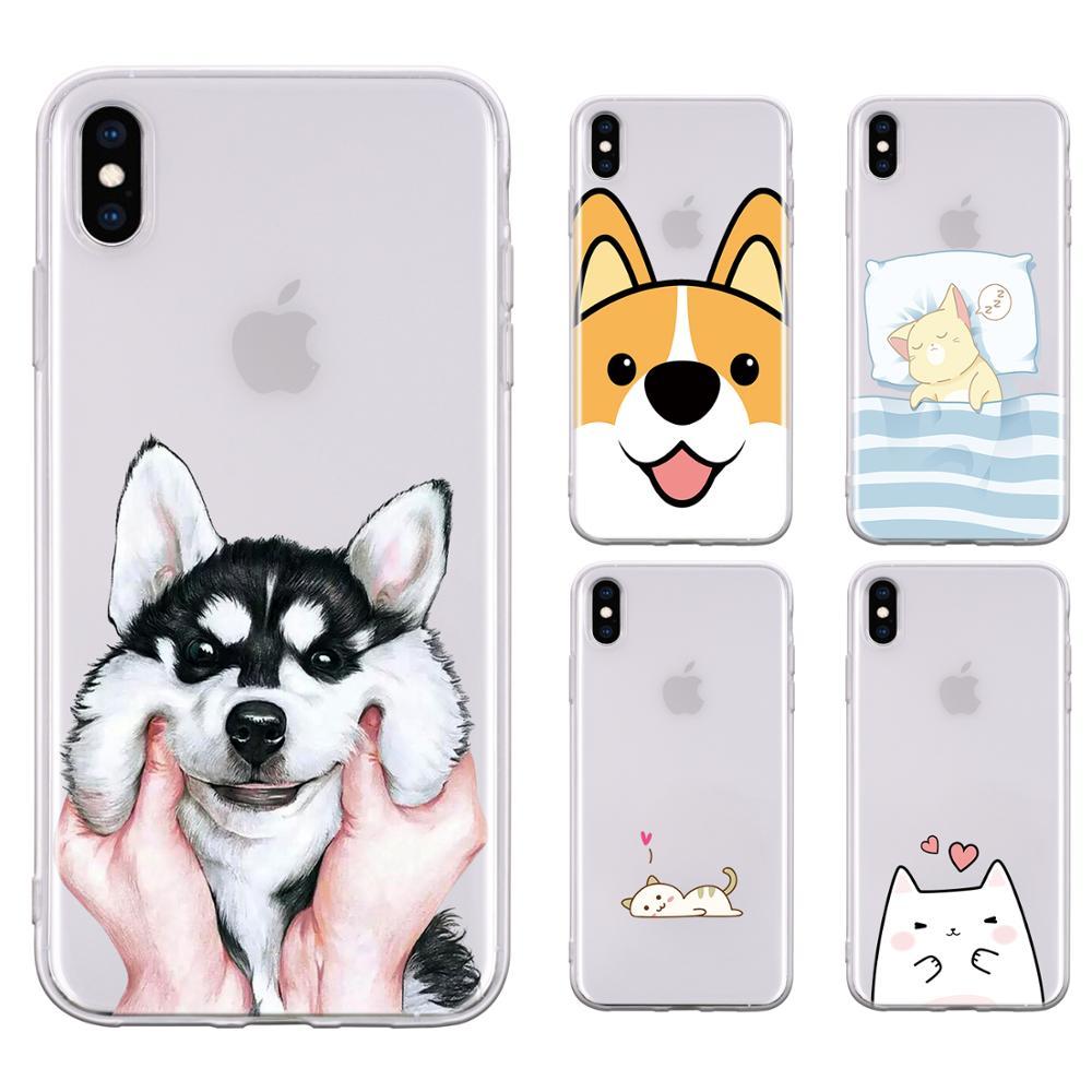 Funda para iPhone 11 Pro Max XR Xs 5 5s 6 6s 7 8 Plus SE SE2 lindo gato encantador perro Husky Corgi dibujos animados sonrisa TPU Funda transparente