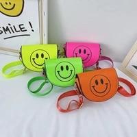 cartoon smile face baby girl small coin purse handbags boys kids pouch fluorescent color childrens mini shoulder messenger bags