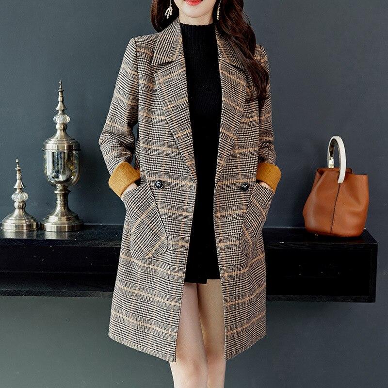 Outono inverno xadrez casaco de lã feminino lã & misturas jaqueta longa casaco duplo breasted casacos de comprimento médio simples escritório ropa