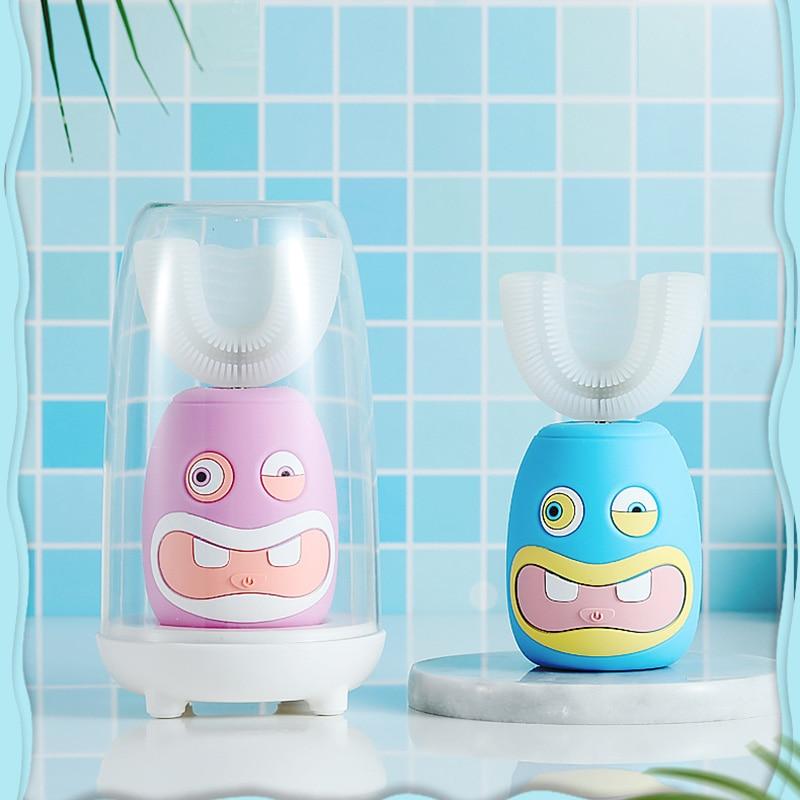 ET-UC19 جديد الأطفال فرشاة الأسنان الكهربائية الاطفال سونيك فرشاة الأسنان الطفل طفل التلقائي على شكل حرف U الكرتون تنظيف