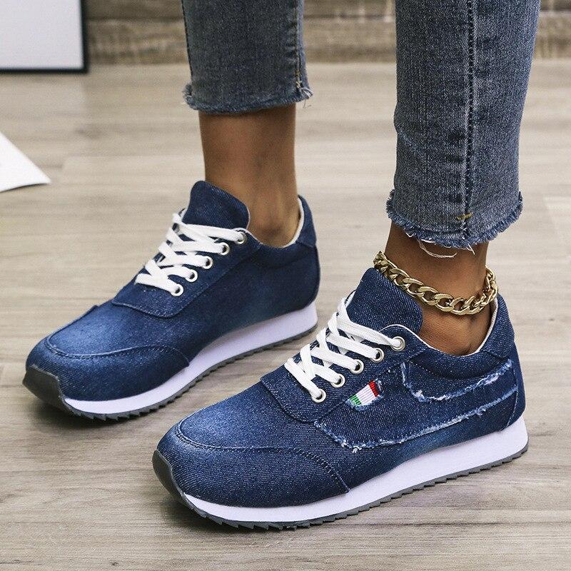 Fashion blue platform sneakers designer casual shoes womens lace-up denim canvas women