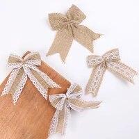 2pcs burlap bows burlap bow knot handmade burlap decorative bowknot natural ornament bow for christmas