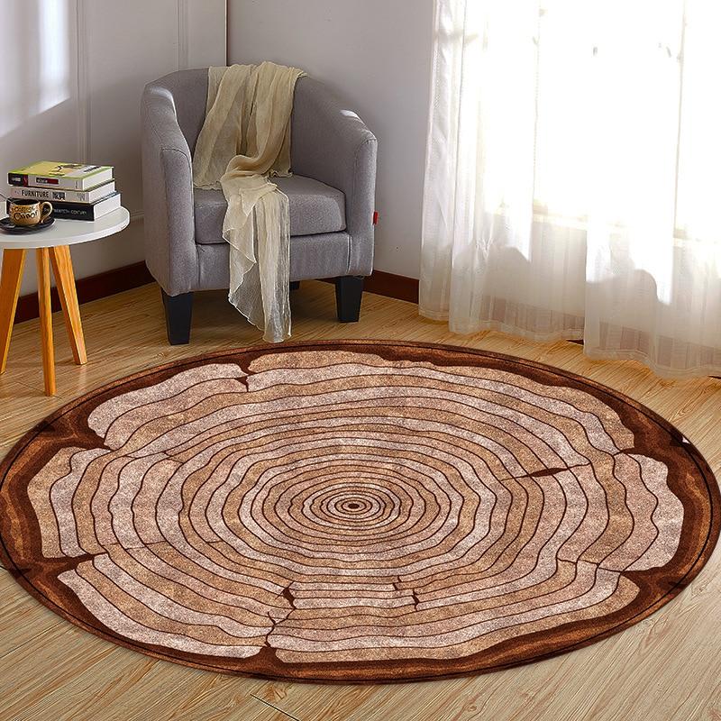 سجادة ريترو مستديرة من الخشب المحبب ، إبداع ، للأرضية ، السرير ، غرفة النوم ، غرفة الأطفال ، لعب الأطفال
