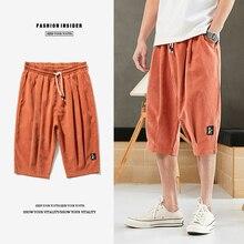 Plus Size 7XL 8XL Summer Harem Pants Men Short Joggers Chinese Style Calf-Length Casual Baggy Pants