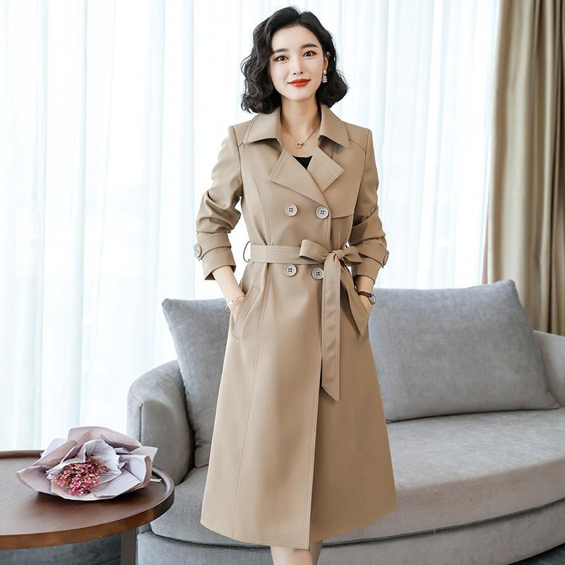 2021 Spring Long Trench Coat Women Double Breasted Slim Thin Trench Coat With Belt Female Outwear Fashion Lapel Windbreaker chic women s trench coat spring autumn belted short coat fashion slim fit double breasted short trench coat g092