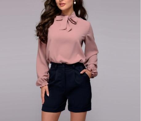 Camisa con lazo elegante para mujer, camisas de gasa de manga larga, lisas, informales, Vintage, para primavera y otoño