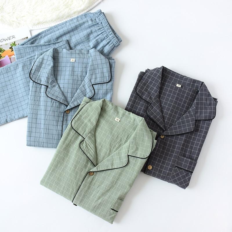 Новинка водная стирка хлопок длинные рукава брюки мужские пижамы весна и осень лацкан чистый хлопок пижама мужские пижамы одежда для сна