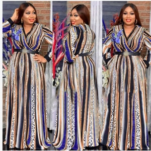 African Dresses For Women Fashion African Clothes New With Belt Party Dress Spring Chiffon Printing Africa Plus Size Robe Lady