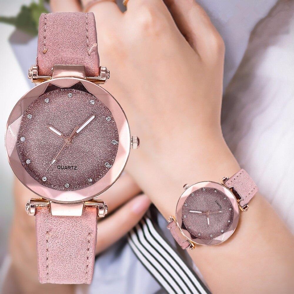 montre Casual Women Romantic Starry Sky Wrist Watch Leather Rhinestone Designer Ladies Clock Dress Simple Gfit Montre Femme Montre 2021