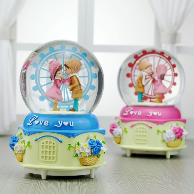 Iluminação caixa de música casal estatueta para dia dos namorados   luminous s luminoso quarto mesa decoração bola de cristal caixas de música, novo!