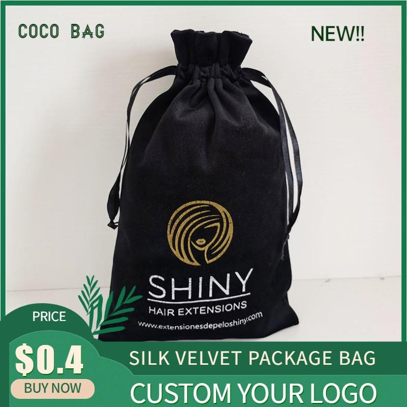 Bolsa de terciopelo de seda 20 piezas bolsa de regalo embalaje de joyería Logotipo de impresión personalizada bolsa de cordón 7x 9/10x1 2/12x1 5/15x20cm bolsa de almacenamiento de cuentas