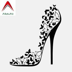 Aliauto Creative Car Sticker Vinyl Sexy High Heel Shoes Stiletto Butterflies Accessories PVC Decal for VW Mercedes,16cm*13cm