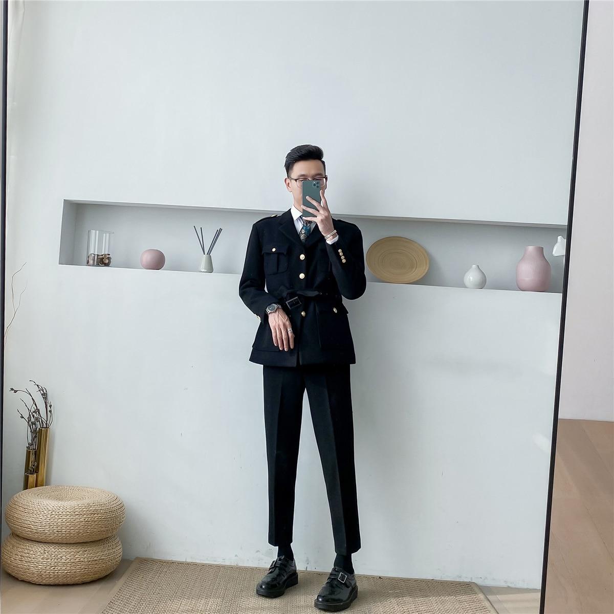 النسخة الكورية من جديد الخريف والشتاء الرجال منتصف طول معطف الصوف المألوف الإفراط في الركبة معطف الصوف عارضة
