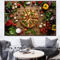 kitchen creative love pizza wall decor art canvas prints realist organic vegetables decorative canvas paintings for wall decor