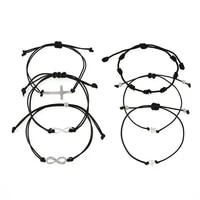 boho heart infinite number 8 pendant jewelry set vintage black rope chain bracelet set for women men adjustable party gifts 2020