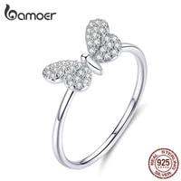 bamoer authentic 925 sterling silver clear cz butterfly finger rings for women wedding statement band anniversary gifts scr621