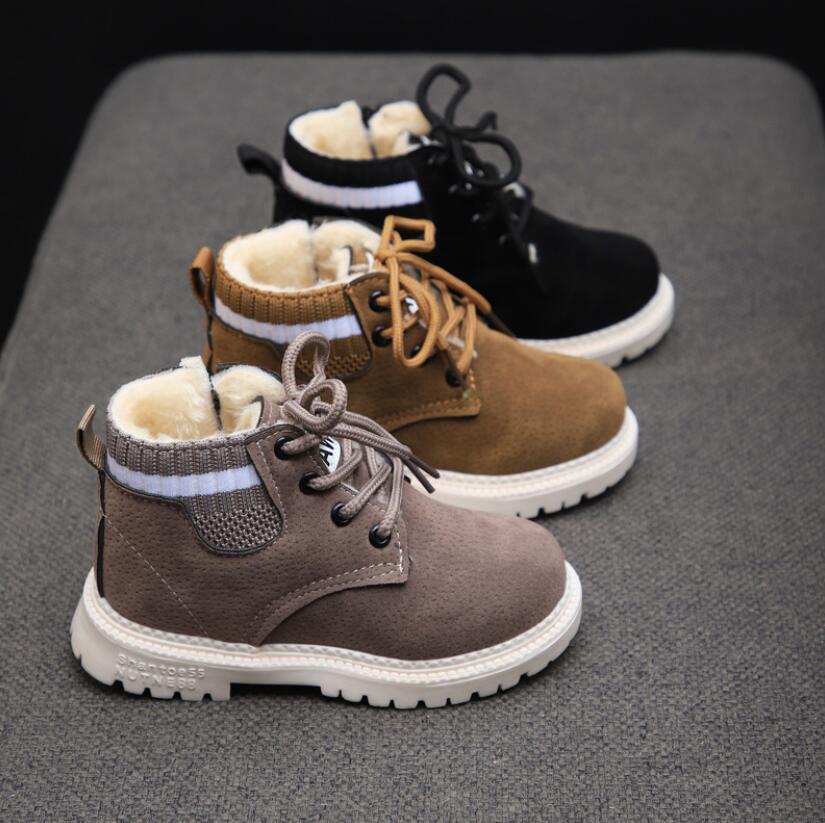 أحذية الأطفال لفصل الخريف والشتاء، أحذية مارتن بوتس للأولاد, حذاء جلد ناعم مضاد للانزلاق للبنات 21-30 حذاء رياضي للجري