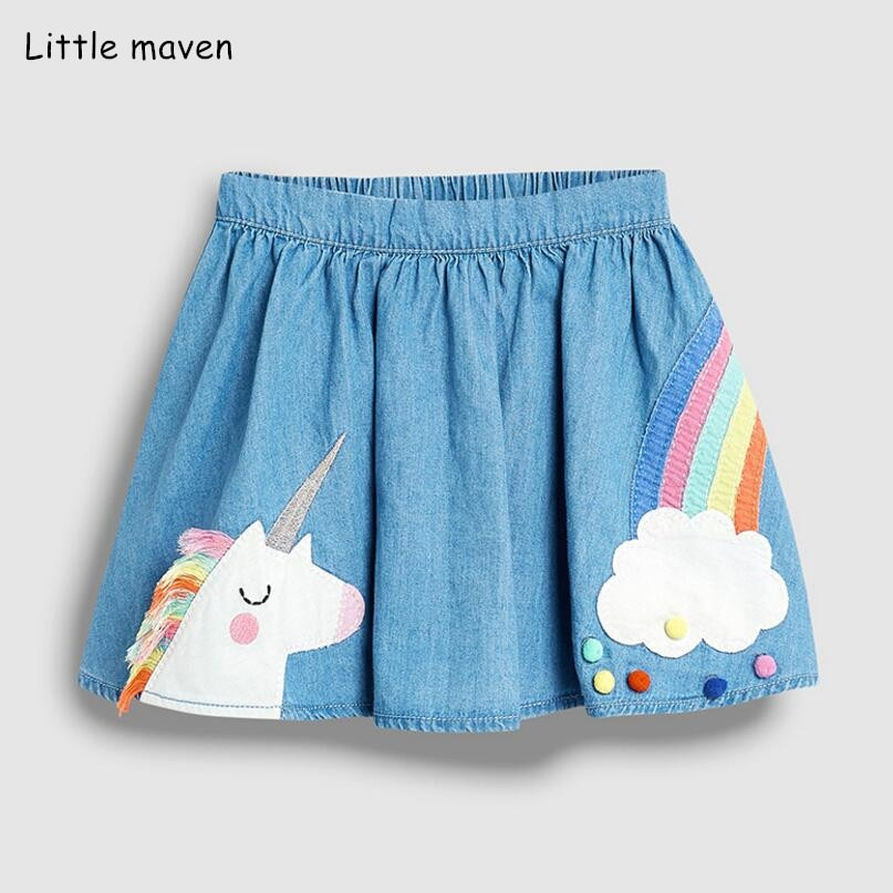 Little Maven/Летняя одежда для маленьких девочек; Джинсовая цветная хлопковая мини юбка с единорогом; Милая школьная юбка в стиле Лолиты для детей; От 2 до 7 лет Юбки    АлиЭкспресс