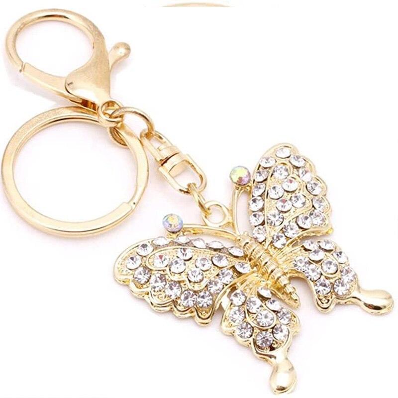 Женские брелоки с бабочкой, модные брелоки со стразами, подарочные металлические брелоки с подвесками для сумок, ювелирные изделия