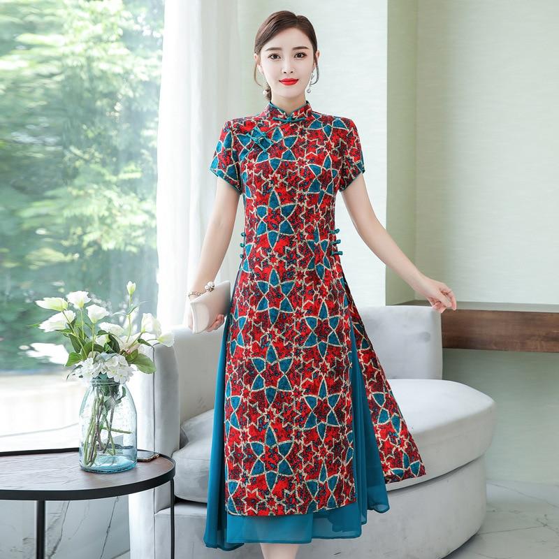 Feminino da Moda ao Dai Qipao com Estampa Vietnã Vestido Japonês Kimono Moda Chinesa Cheongsam Chiffon Vestidos Longos