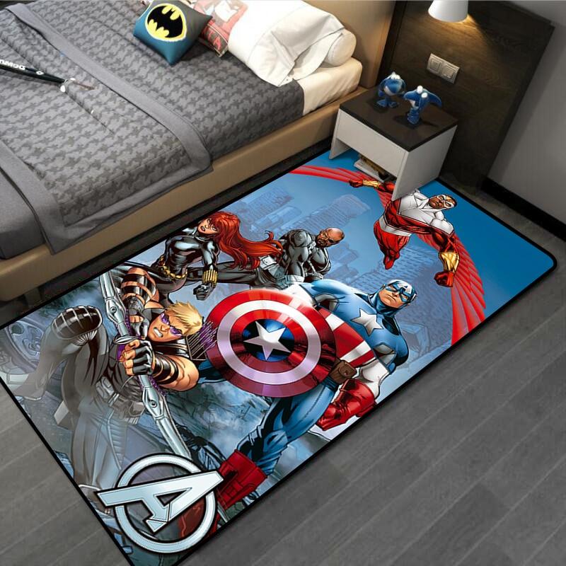 Детский игровой коврик 80x160 см, дверной коврик, ковер Капитан Америка, Человек-паук, ковер, напольный коврик для спальни, нескользящий кухонн...