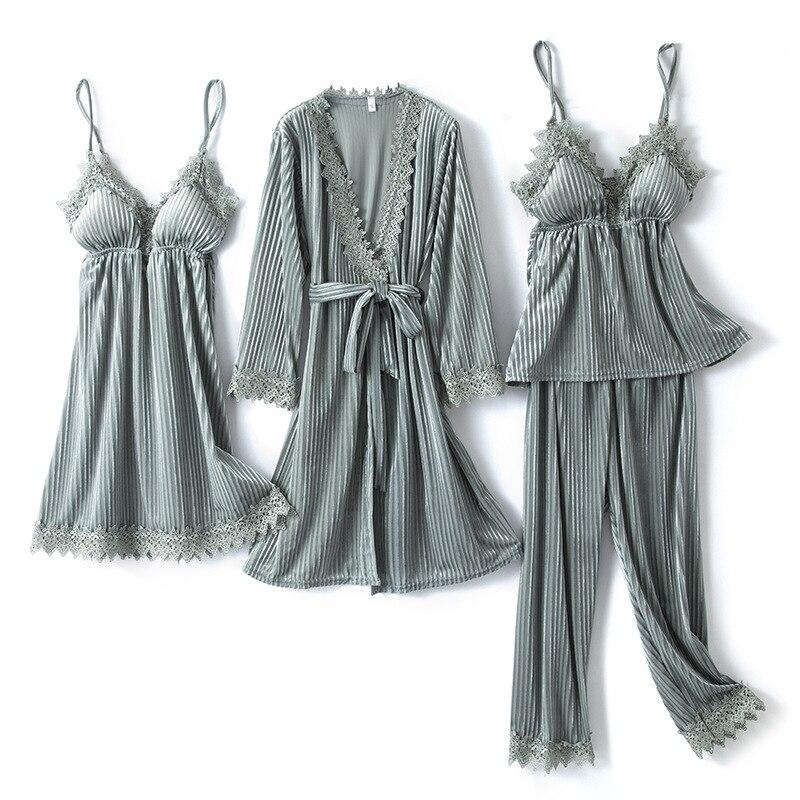 النساء منامة القطيفة 4 قطعة ملابس خاصة مخطط كيمونو البشكير ثوب نوم الخريف الشتاء النوم مجموعة مثير البيجامات دعوى Homewear