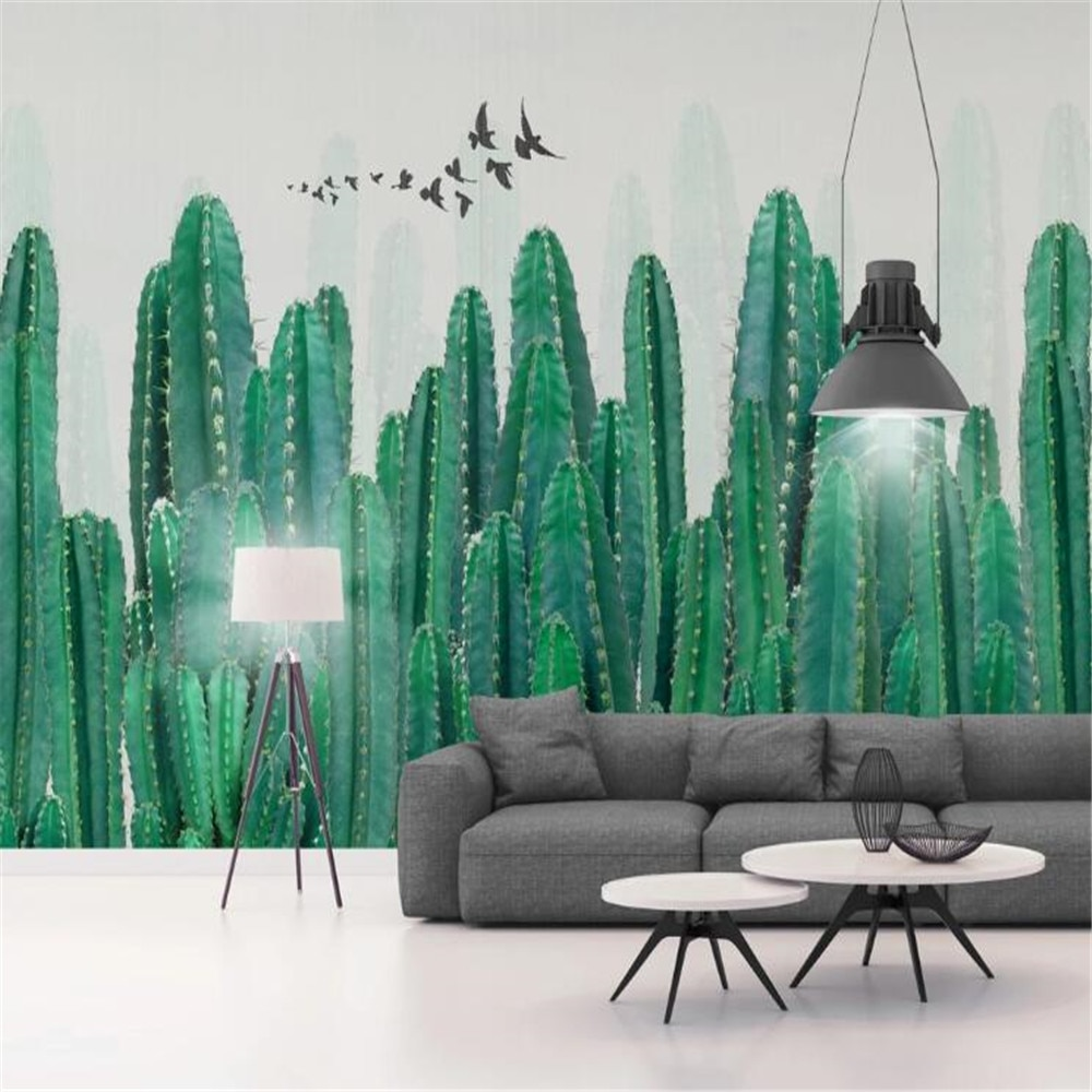 milofi manufacturers custom wallpaper murals 3D Nordic hand-painted cactus tropical plants TV background wall painting