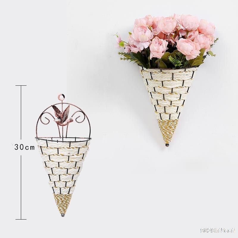 Mimbre Natural flor florero, canasto de mimbre colgante de pared olla maceta rota jarrón, cesto Decoración