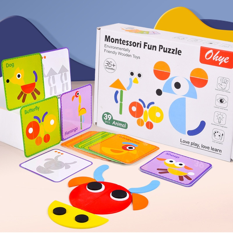 Children's Montessori Fun Geometric Creative Jigsaw Puzzle Early Education Development Thinking Preschool Enlightenment Wood Toy