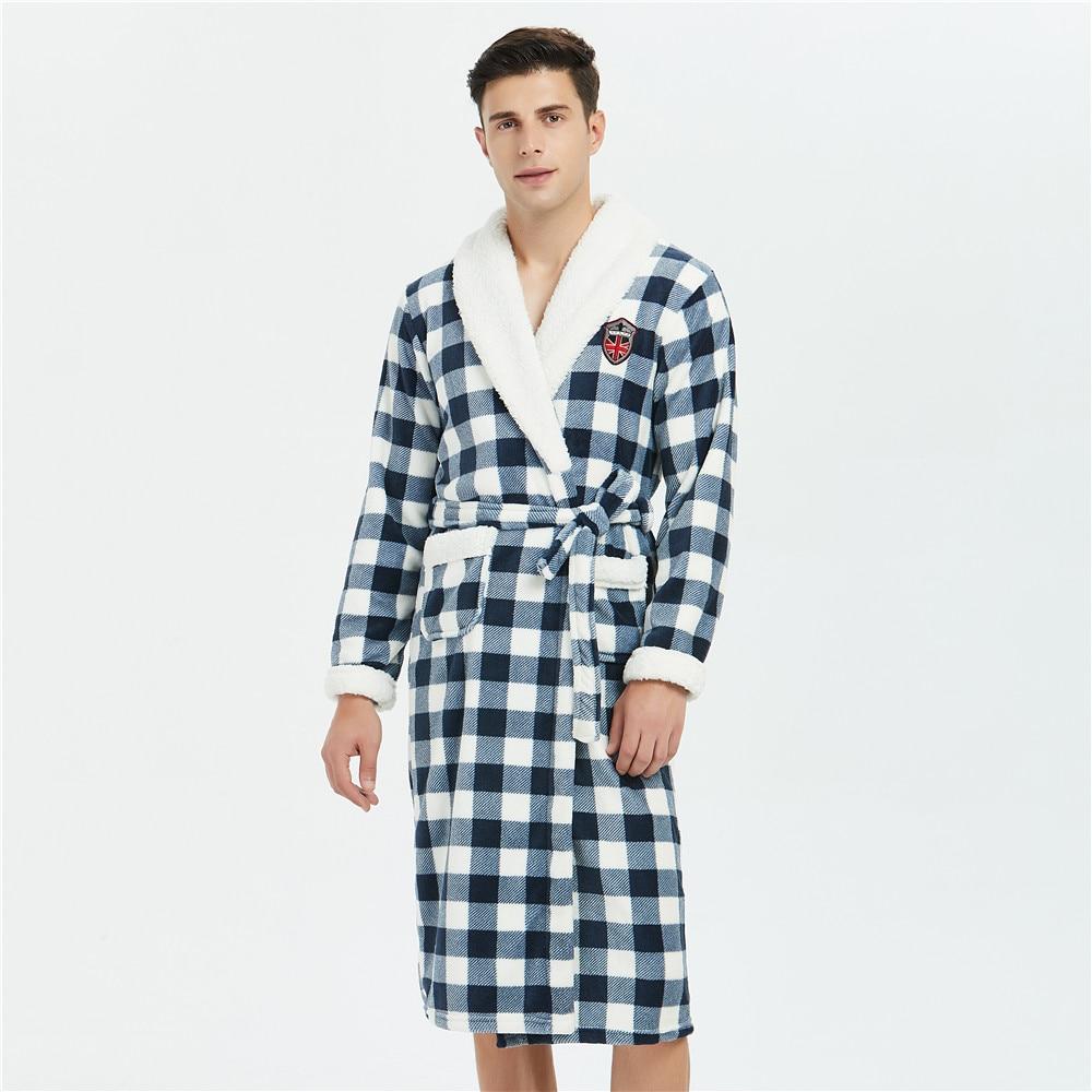 Thicken Plaid Nightgown Men Full Sleeve Coral Fleece Kimono Robe Gown Winter New Padded Sleepwear Casual Lounge Loose Bathrobe