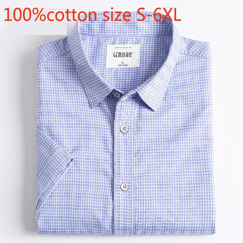New Mens High Quality Spring Summer Plaid Short Sleeve Fashioon 100% Pure Cotton Handsome Thin Casual Shirts Plsu Size S -6XL