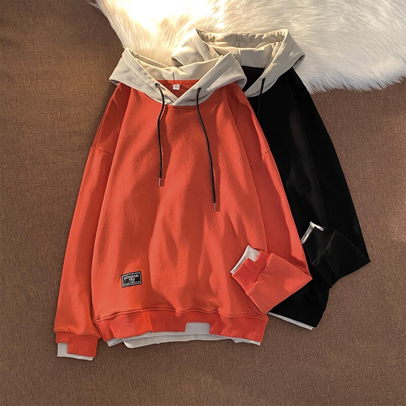 Мужские толстовки с капюшоном, черные повседневные толстовки в Корейском стиле, свободные базовые пуловеры для бега, осень 2021