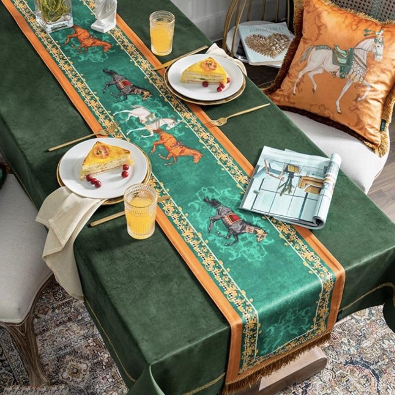 DUNXDECO-مفرش طاولة شرابة ، غطاء طاولة طويل ، قماش عتيق ، طباعة حصان فني ، برتقالي ، أخضر ، ديكور مكتب