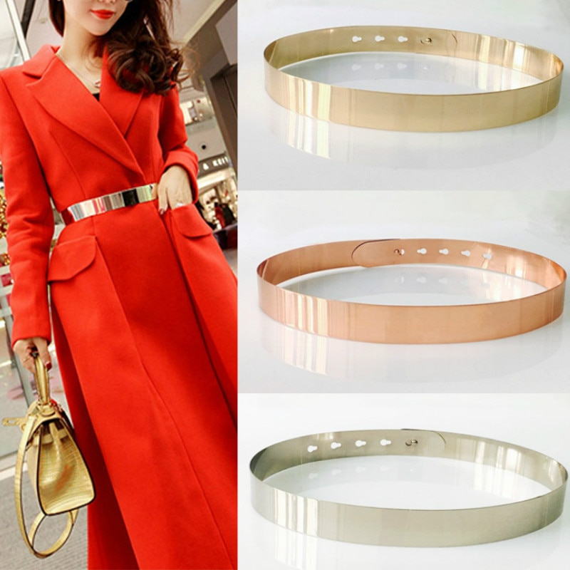 Fashion Women Adjustable Metal Designer Belt Bling Gold Silver Plate Vintage Ladies Dress Simple Bel