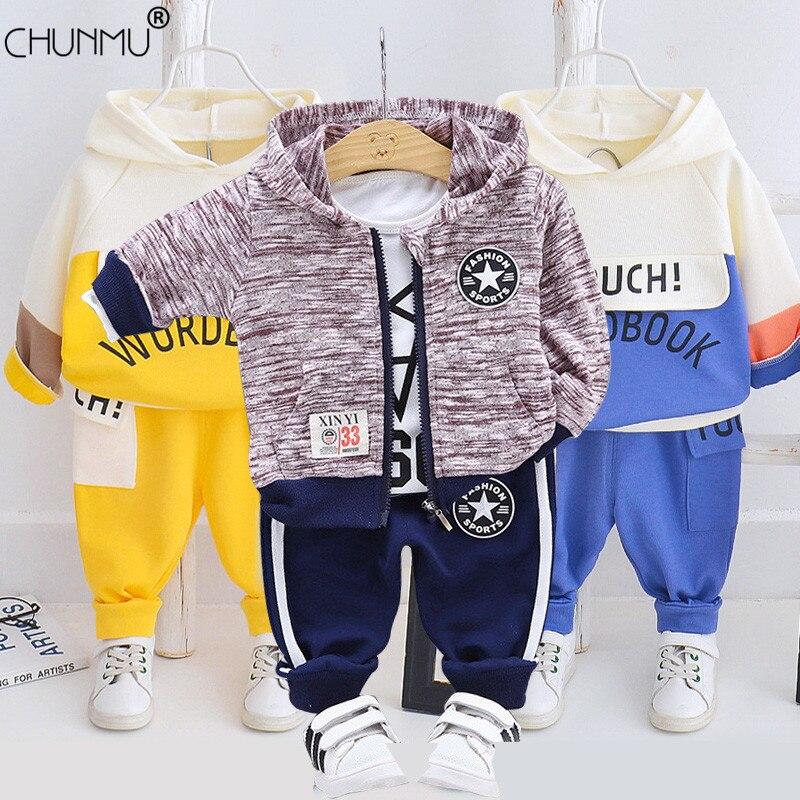 Ropa de primavera para niños, traje para bebés, chándal informal, pantalones, pantalones con capucha para niños, trajes para niñas, conjunto Infantil para recién nacidos