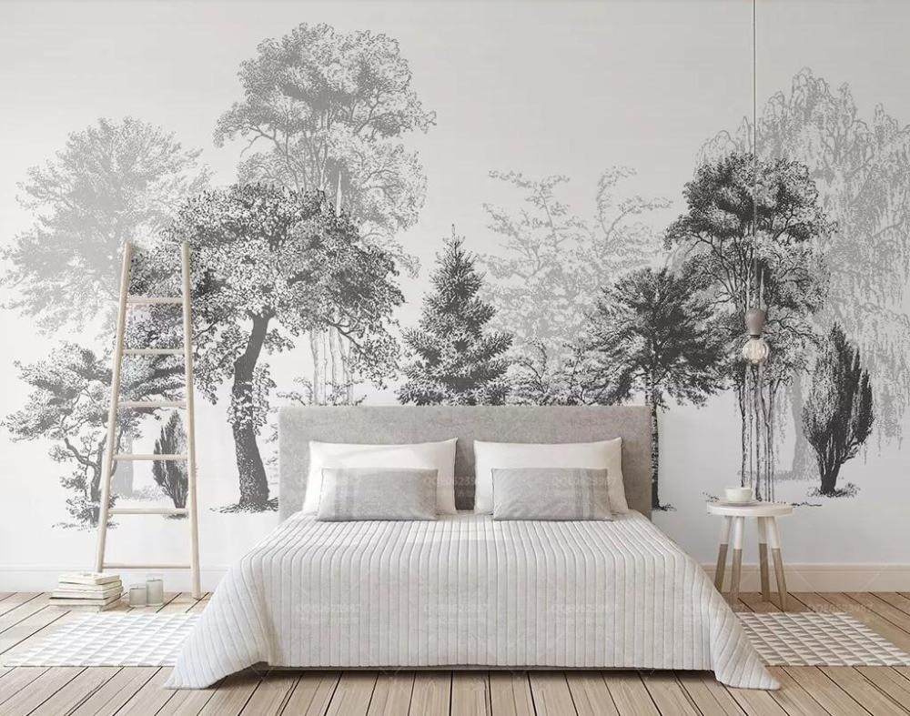 Bacal papel de parede personalizado moderno minimalista preto e branco esboço estilo abstrato madeiras tv fundo da parede mural 3d