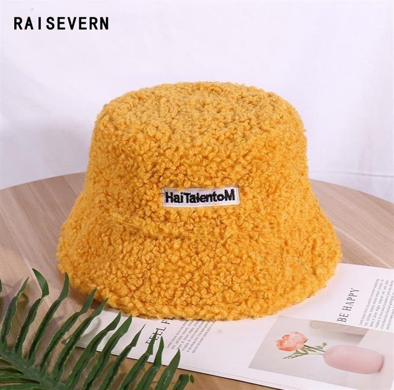Primavera 2020 nuevo sombrero de cubo gorras de piel sintética para mujer Panamá pesca cubo sombrero Casual al aire libre esponjoso Panamá Dropship