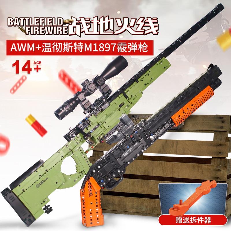 Fit Technic серии пистолеты дробовик может огонь пули набор AWM Винчестер военная модель строительные блоки игрушки для мальчиков Подарки Lepining