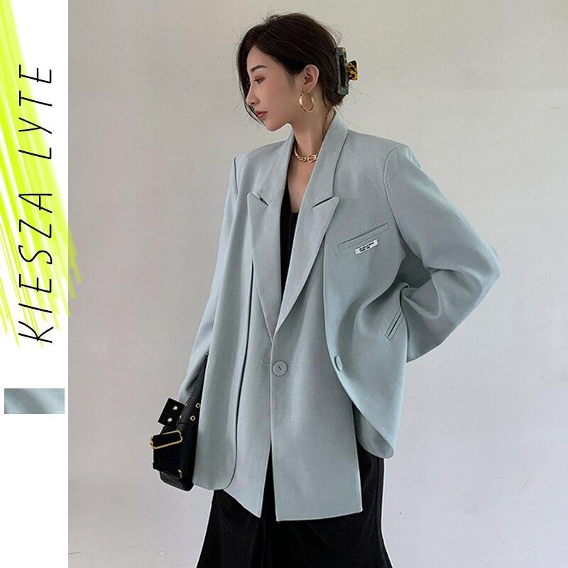 Blazers mulheres jaquetas 2020 outono novo estilo nicho chique azul terno falso duas peças solto minimalista blazer casacos femininos