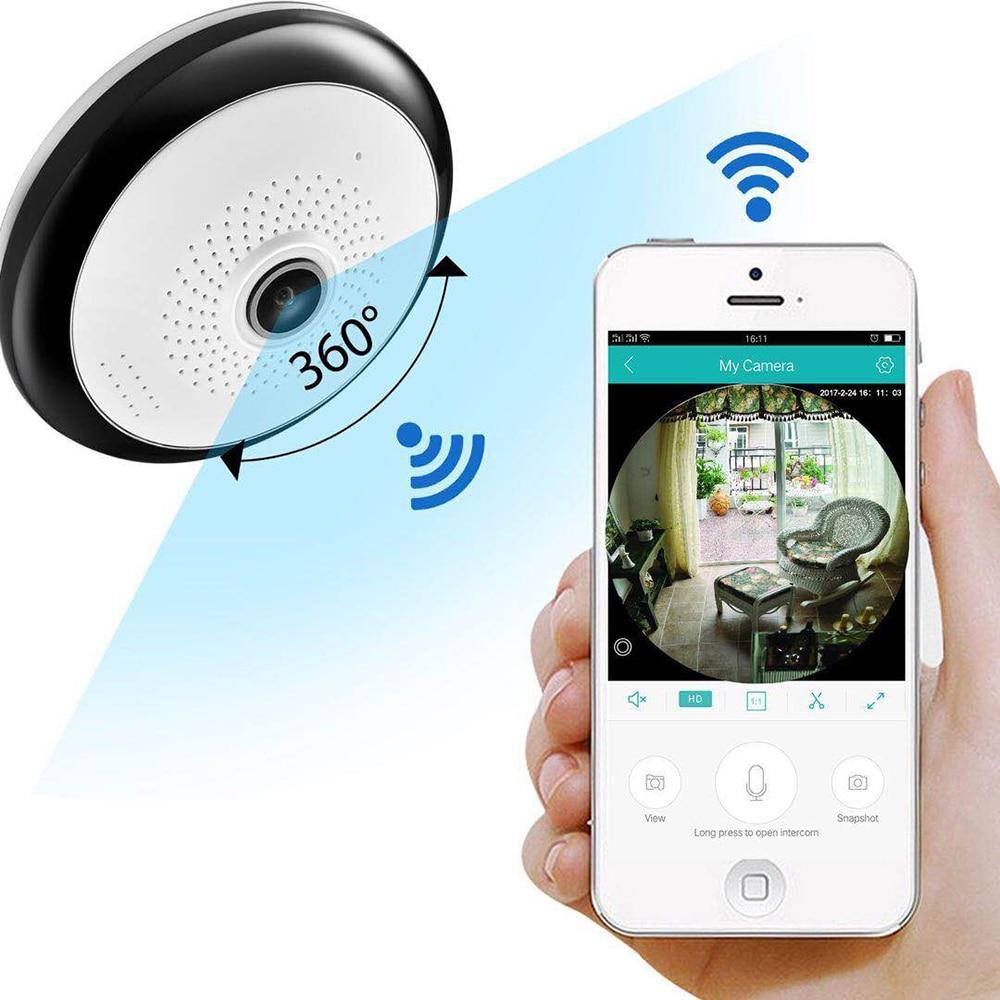 Cámara FREDI IP WiFi 360 grados panorámica ojo de pez cámara inalámbrica 960P HD 1.3MP visión nocturna infrarroja de seguridad para hogar cámara CCTV