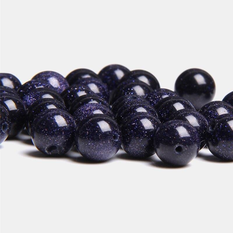 Perles de pierre de grès bleu lisse naturel pierre de sable bleu en vrac ronde 4-12mm perle pour femmes hommes fabrication de bijoux bracelet à bricoler soi-même perle