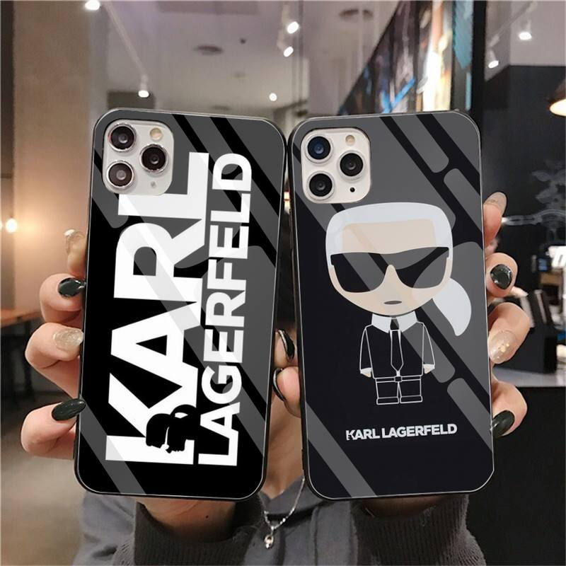 Famoso caso de telefone karls lagerfeld vidro temperado para iphone 11 pro xr xs max 8x7 6s 6 plus se 2020