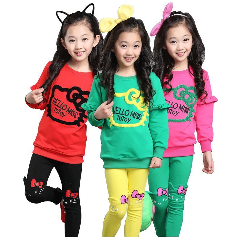 Conjunto de Ropa para Niñas de 3 colores, traje encantador de algodón de primavera para niñas, camisa + Pantalones, ropa para niños, conjunto de ropa de alta calidad de 3 a 8 años