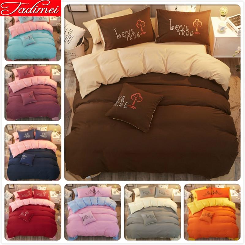 Pure Color Plain Solid 3/4 pcs Bedding Set Single Full Twin Queen King Big Size Quilt Comforter Duvet Cover Bedspreads Bed Linen