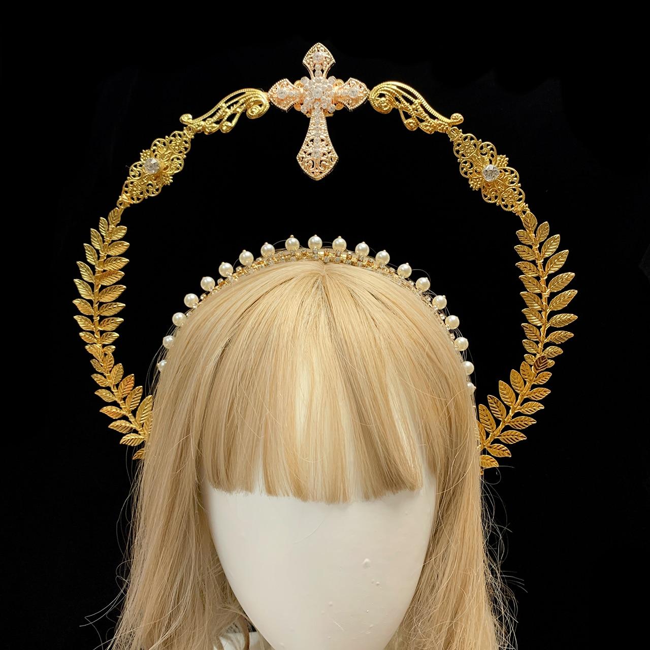 الذهب هالو خوذة لوليتا غطاء الرأس الشمس آلهة مريم العذراء القوطية رائع عقال إكسسوارات الشعر