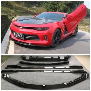 Real Carbon Fiber Bumper Front Lip + Rear Diffuser + Spoiler + Side Skirt Protector Cover For Chevrolet Camaro 2017 2018 2019