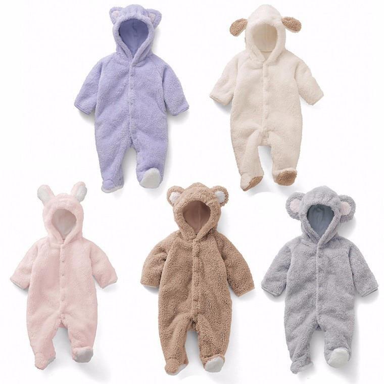 Newborn Baby  Romper Winter Costume Boys Clothes Coral Fleece Warm Girls Clothing Animal Overall Rompers Jumpsuit