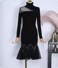 Autumn winter hollow out knitted dress women sexy bead work ruffles dresses lady mermaid  sweater dress